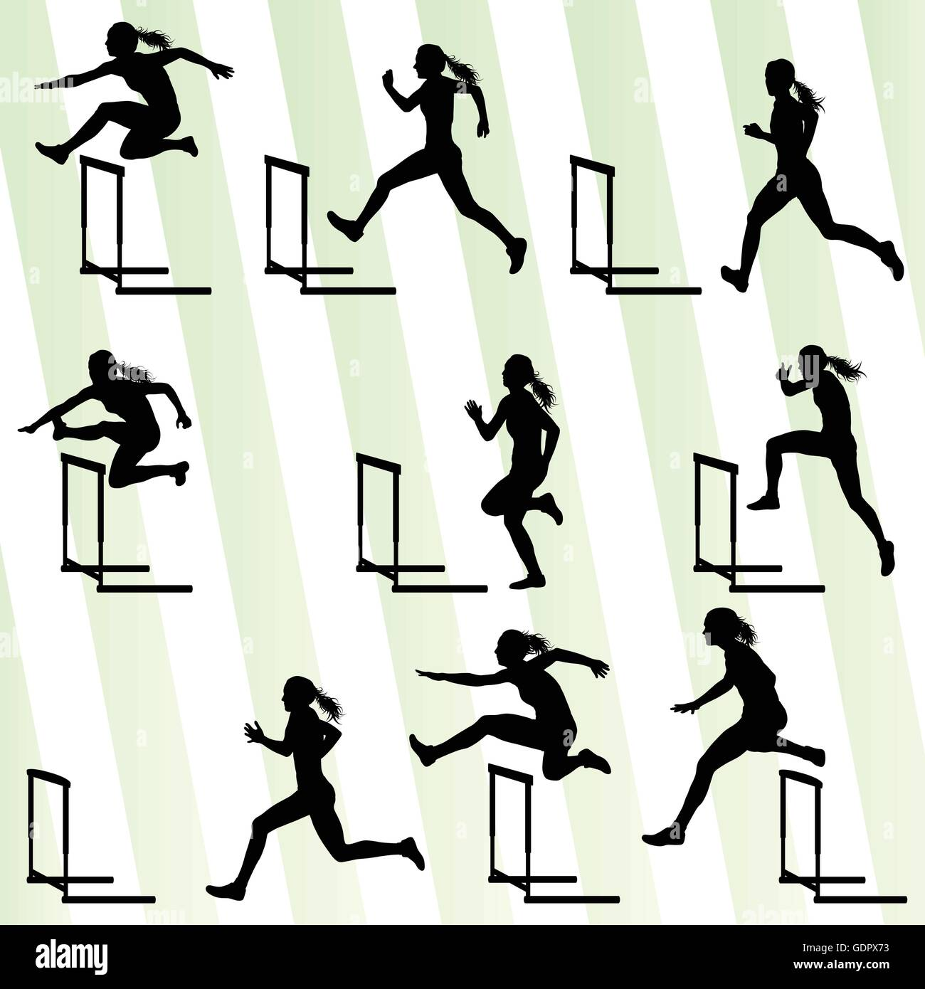 Athlete woman hurdling in track and field vector background set concept Stock Vector