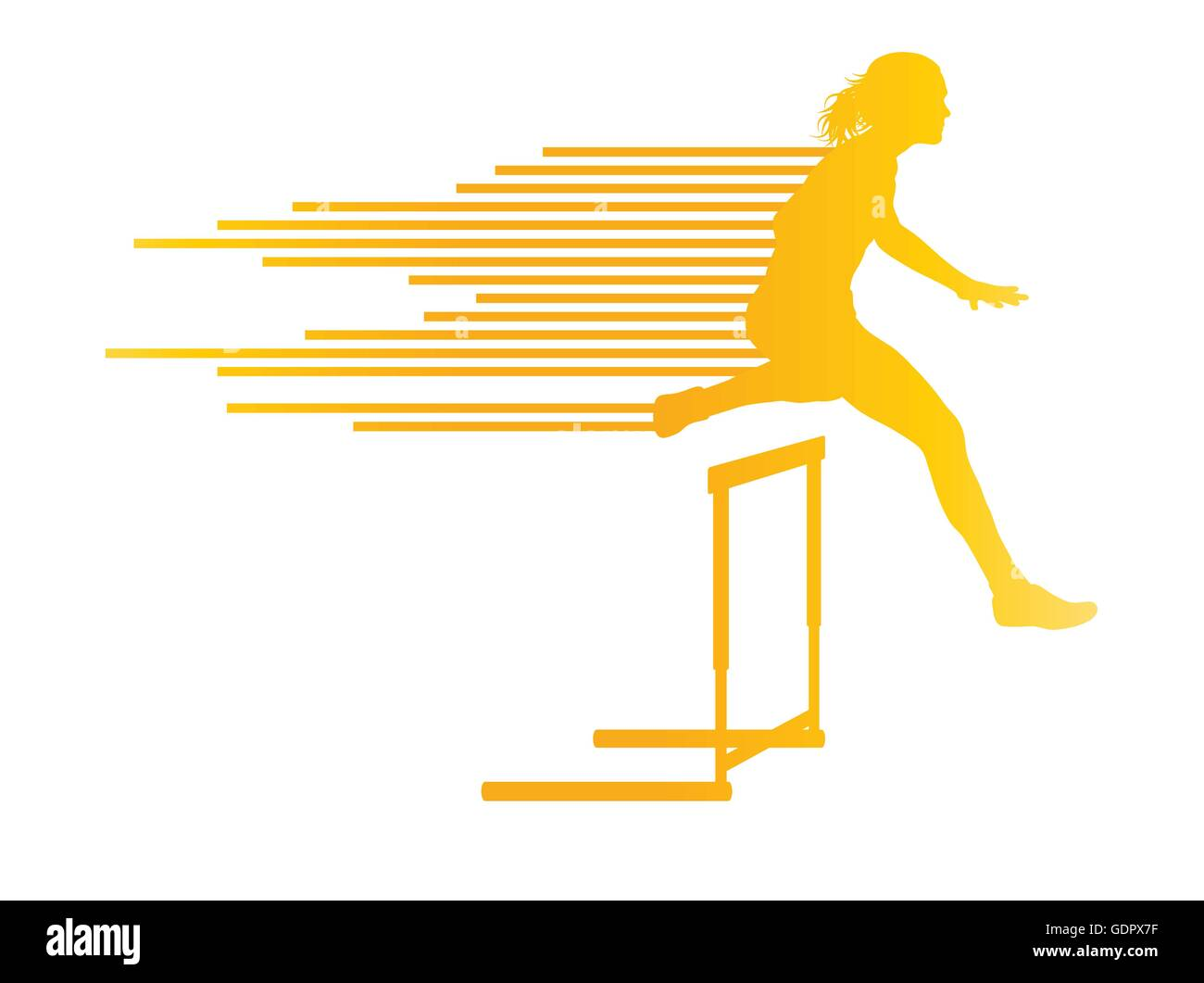 Athlete woman hurdling in track and field vector background concept made of stripes Stock Vector