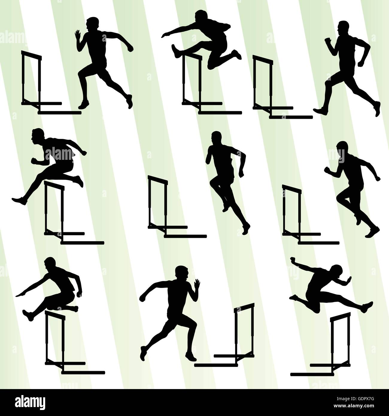 Athlete man hurdling in track and field vector background set concept Stock Vector