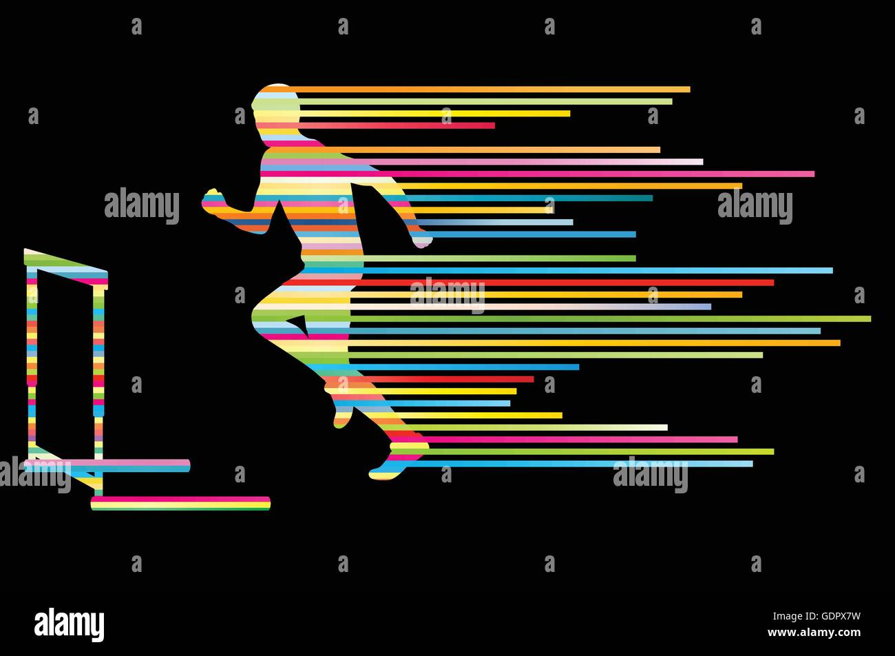 Athlete man hurdling in track and field vector background concept made of stripes Stock Vector