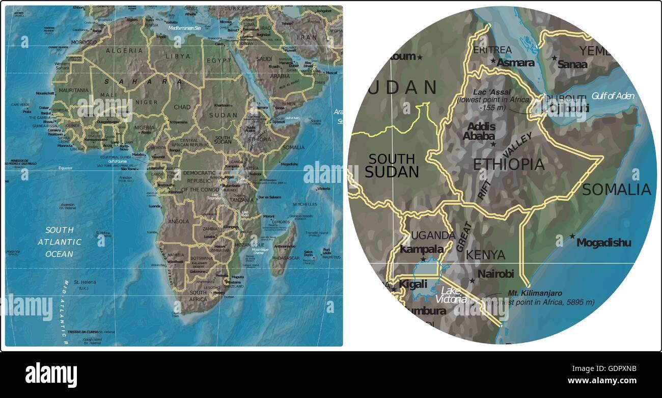 Ethiopia Somalia Kenya Uganda and Africa map Stock Vector Art