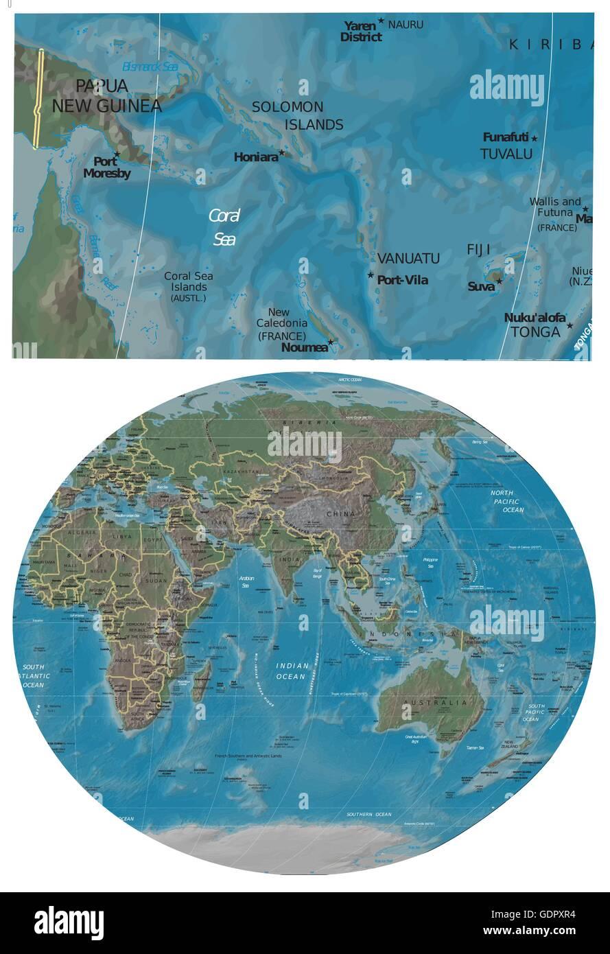 Papua New Guinea Coral Sea Islands and Asia Oceania map ...