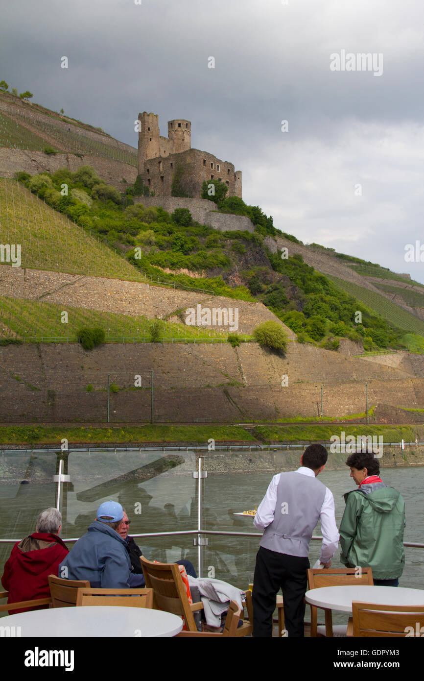 Ehrenfels Castle, a ruined castle above the Rhine Gorge near Rudesheim, Germany, as seen from Viking Cruises ship - Stock Image