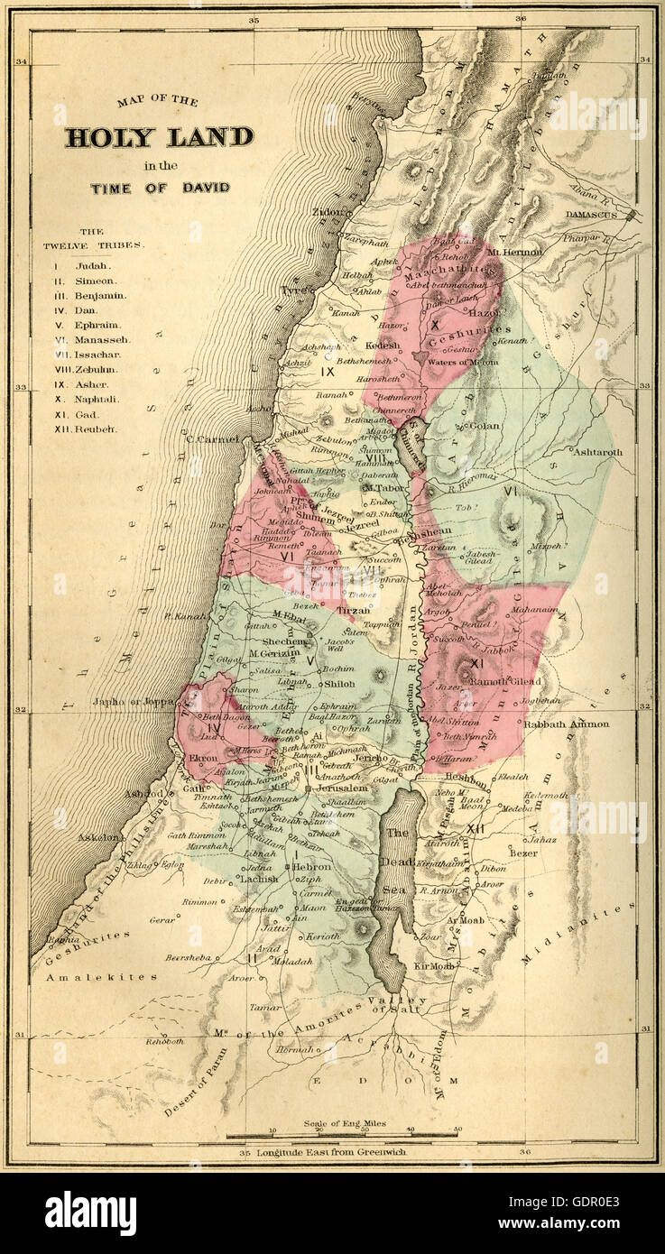 Antique 1867 engraving, Map of the Holy Land in the Time of
