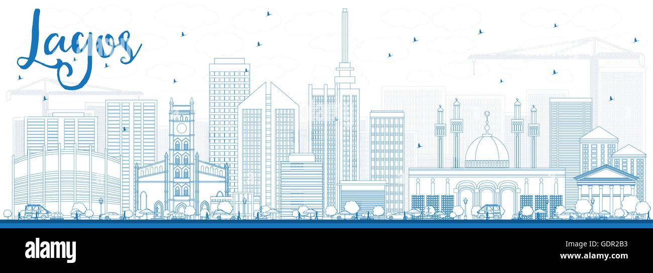 Outline Lagos Skyline with Blue Buildings. Vector Illustration. Business Travel and Tourism Concept with Modern - Stock Image