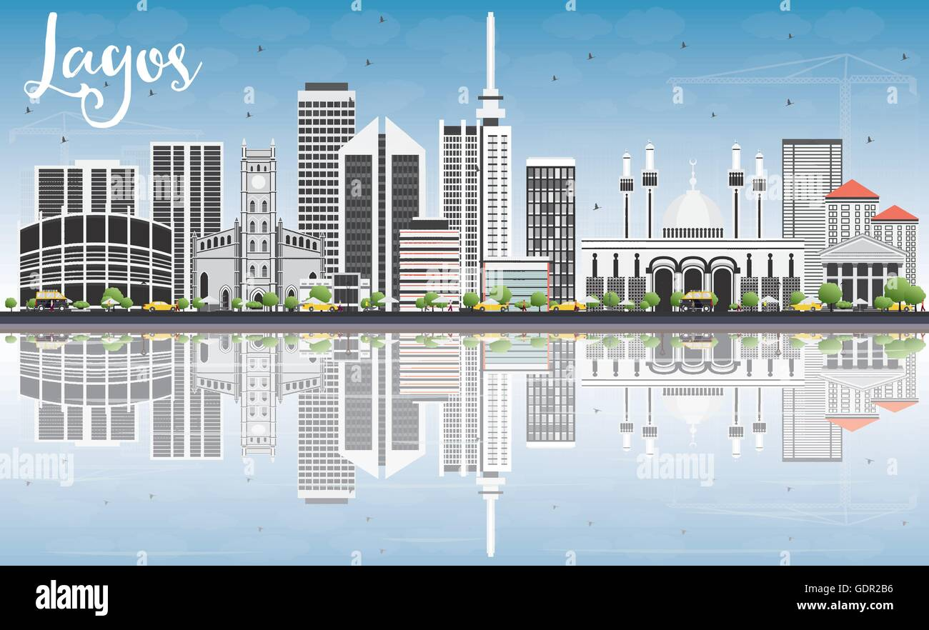 Lagos Skyline with Gray Buildings, Blue Sky and Reflections. Vector Illustration. Business Travel and Tourism Concept - Stock Image