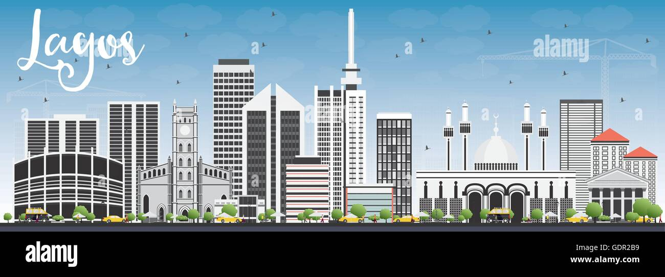 Lagos Skyline with Gray Buildings and Blue Sky. Vector Illustration. Business Travel and Tourism Concept with Modern - Stock Image