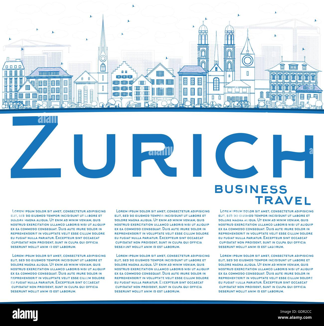 Outline Zurich Skyline with Blue Buildings and Copy Space. Vector Illustration. Business Travel and Tourism Concept - Stock Vector