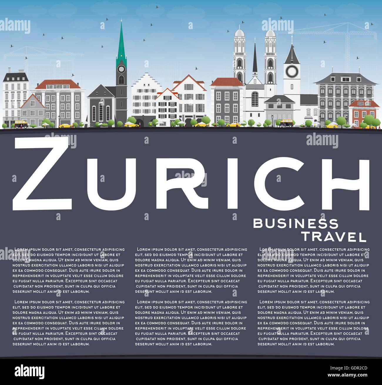Zurich Skyline with Gray Buildings, Blue Sky and Copy Space. Vector Illustration. Business Travel and Tourism Concept - Stock Vector