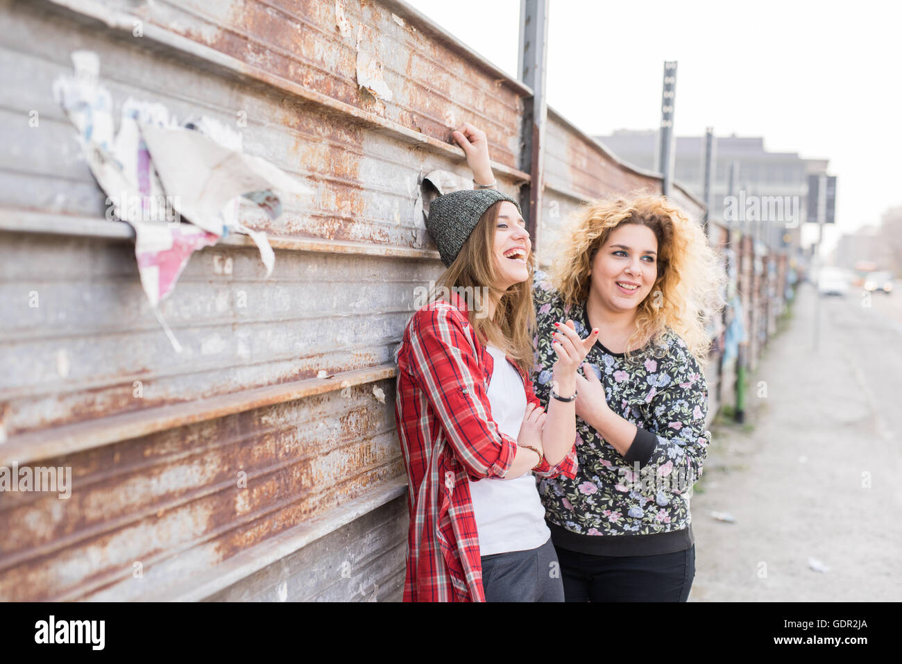Half length of two young curly and straight blonde hair caucasian woman leaning against a wall of metal sheet, both - Stock Image