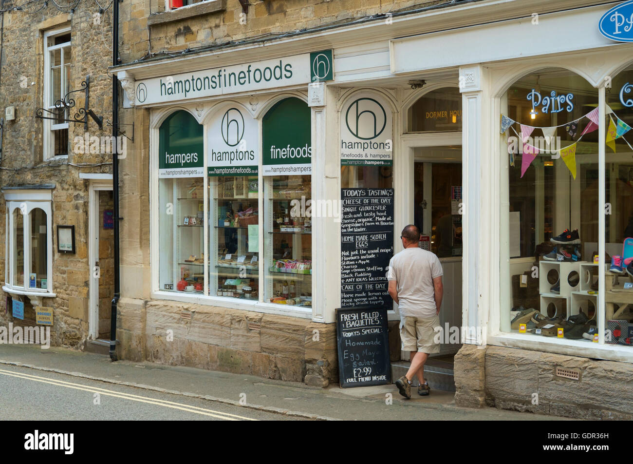 Stow-on-the-Wold a Cotswold town in Gloucestershire England UK Hamptons fine foods shop - Stock Image