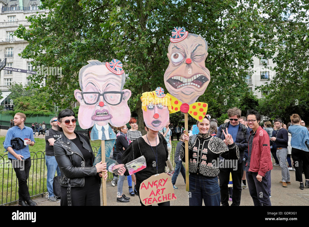 Michael Gove & Nigel Farage protesters protestors & puppet placards at the Anti Brexit result Protest 2nd - Stock Image