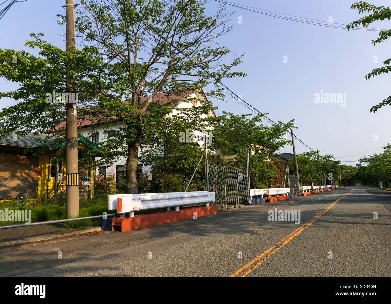 Roadblock in the difficult-to-return zone after the daiichi nuclear power plant irradiation, Fukushima prefecture, - Stock Image