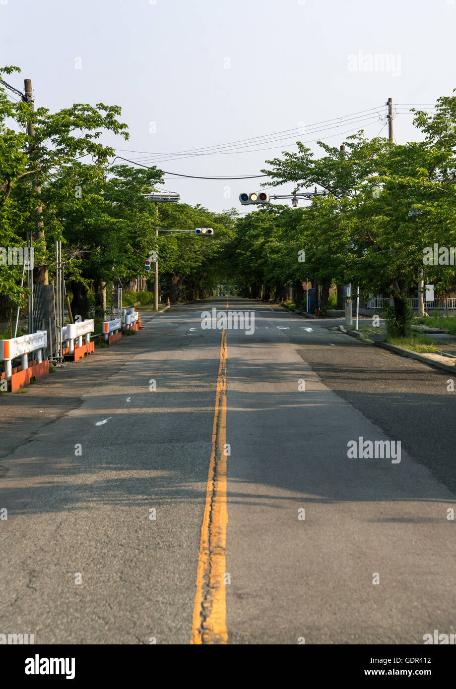 Roadblock in the difficult-to-return zoneafter the daiichi nuclear power plant irradiation, Fukushima prefecture, - Stock Image