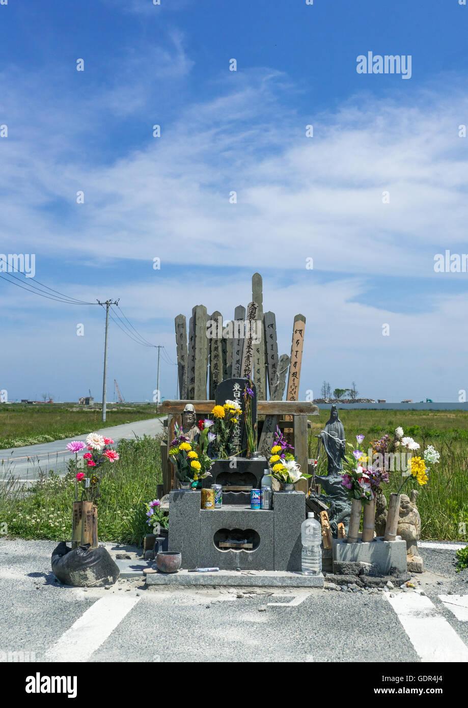 A shrine to victims of the 2011 tsunami, Fukushima prefecture, Namie, Japan - Stock Image