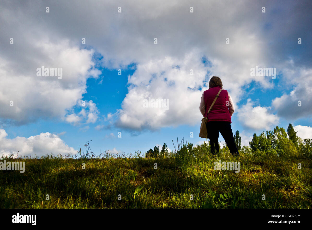 woman standing on the edge of a hill and looking ahead - Stock Image