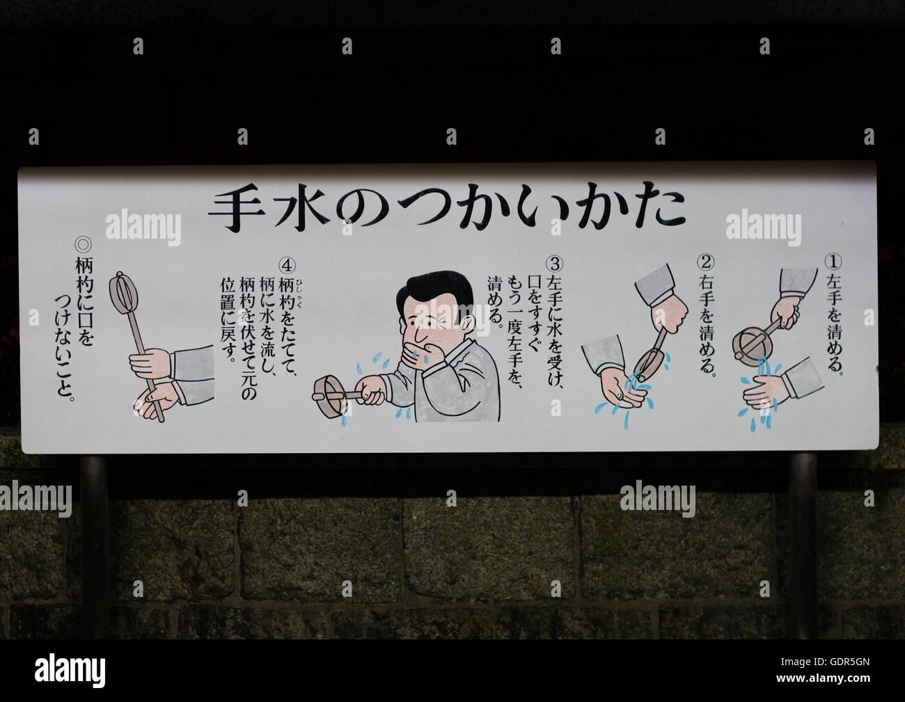 Instructions about use of water in in fushimi inari-taisha, Kansai region, Kyoto, Japan - Stock Image