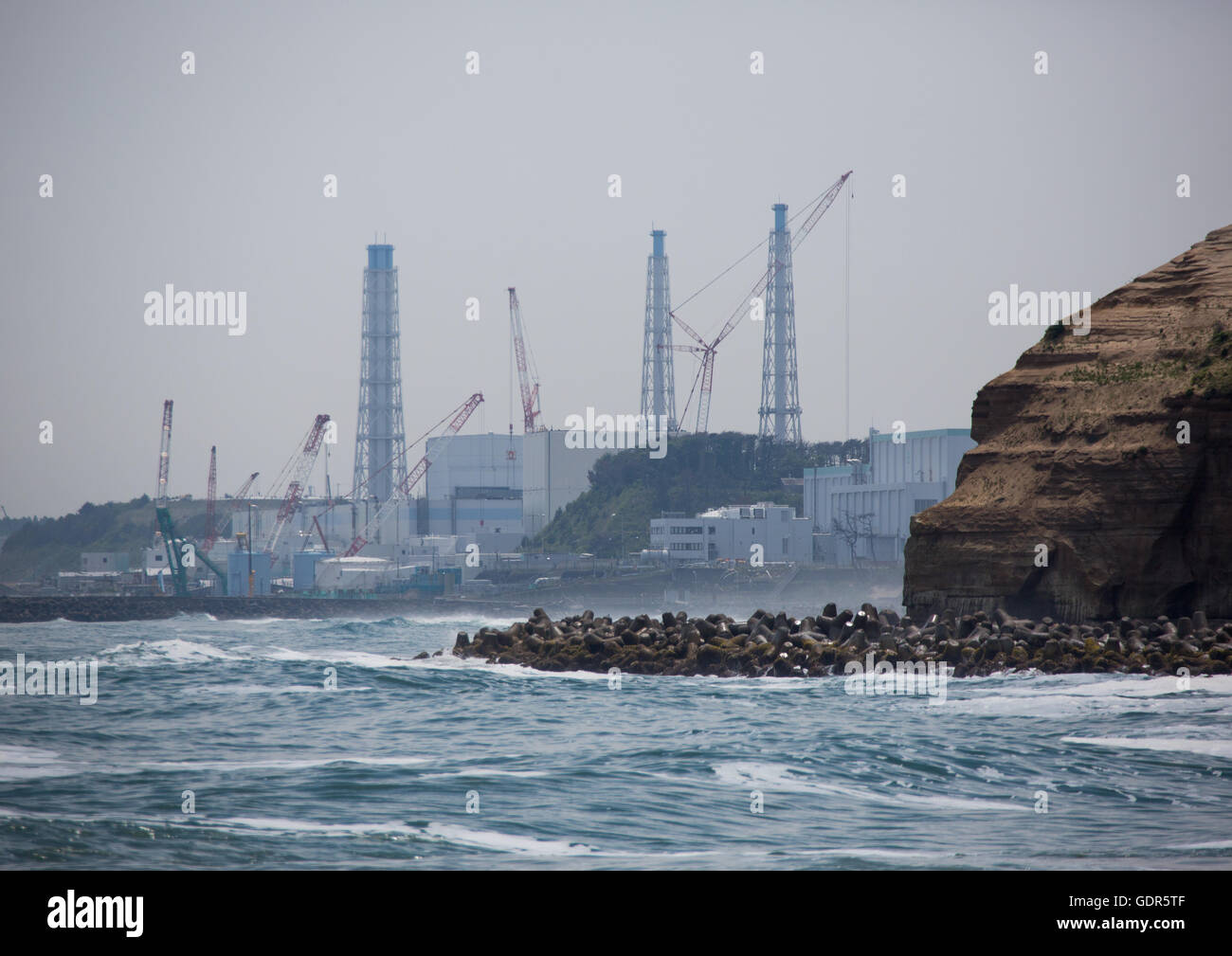 Fukushima daiichi nuclear power plant five years after the tsunami, Fukushima prefecture, Futaba, Japan - Stock Image