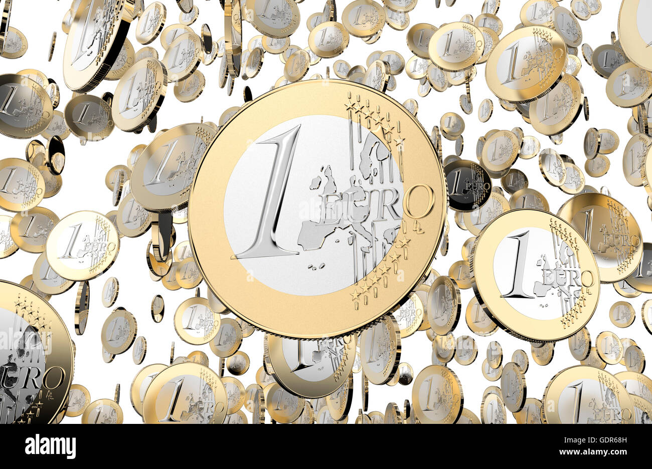 lot of euro coins isolated on white background, 3d illustration Stock Photo
