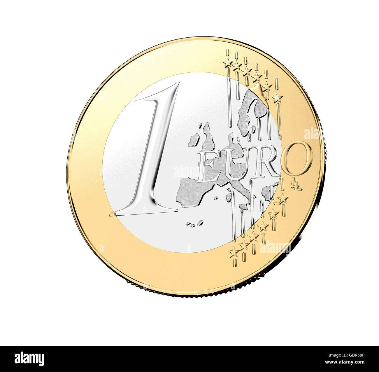 one euro coin isolated on a white background., 3d illustration Stock Photo
