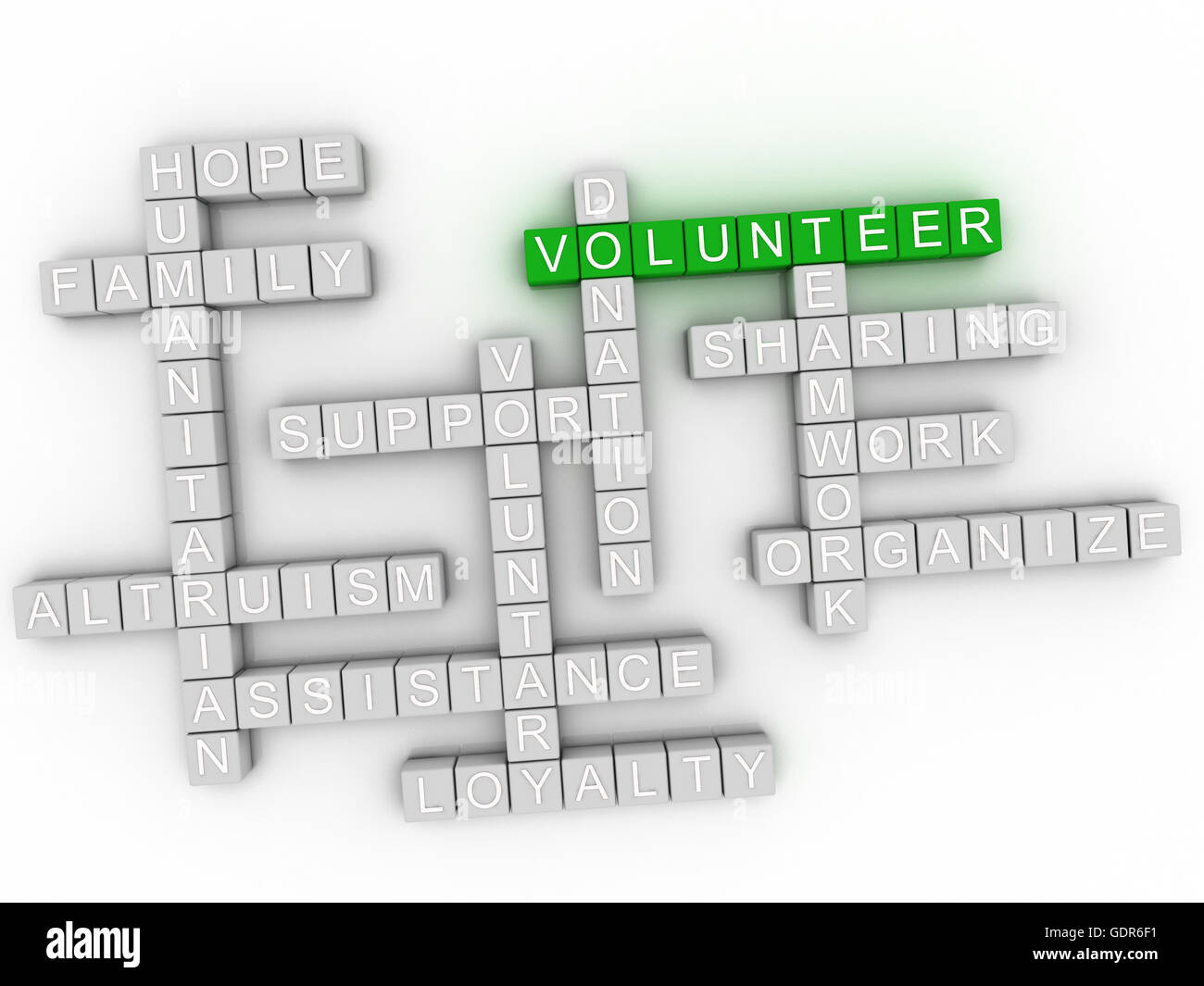 3d image Volunteer word cloud concept - Stock Image