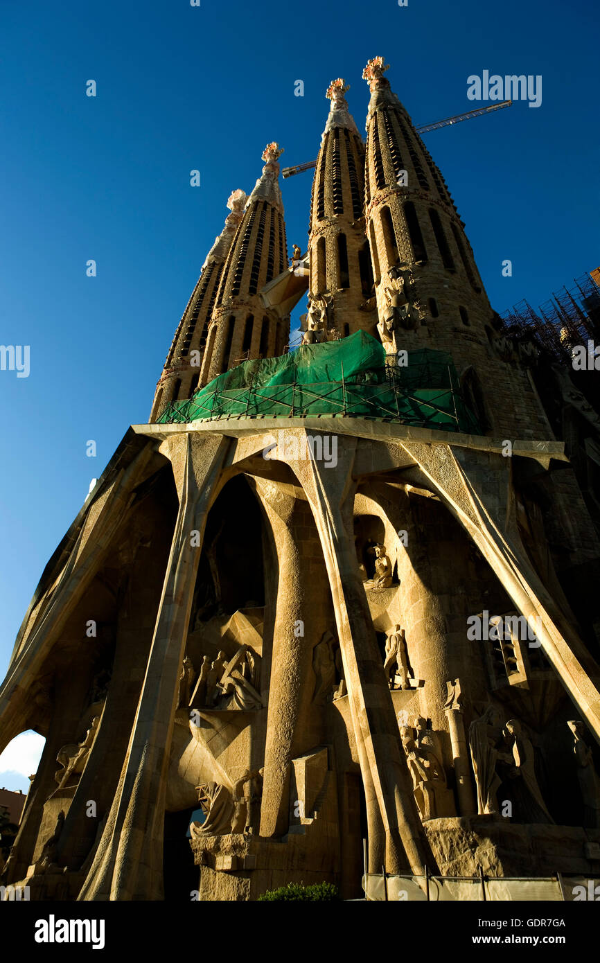 Barcelona, La Sagrada Familia: Passion façade Stock Photo
