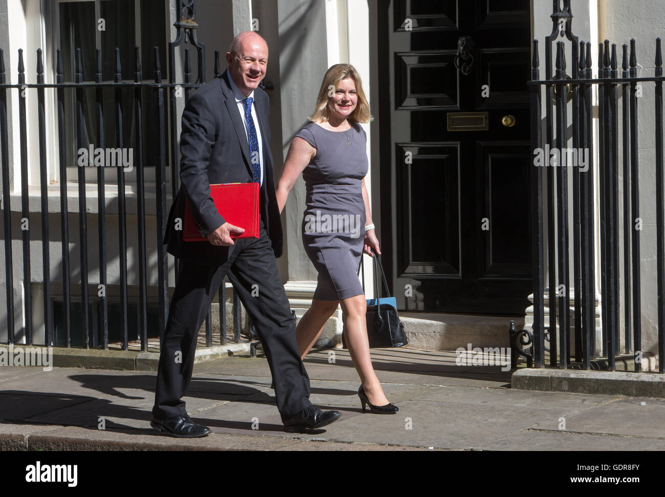 Work and Pensions Secretary Damian Green and Education Secretary Justine Greening arrive at Downing street for a - Stock Image
