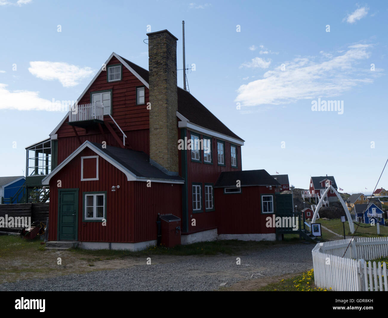 Colonial Manager's House 1846 became telegraph station 1933 Sisimiut Museum West Greenland Greenlands second largest Stock Photo