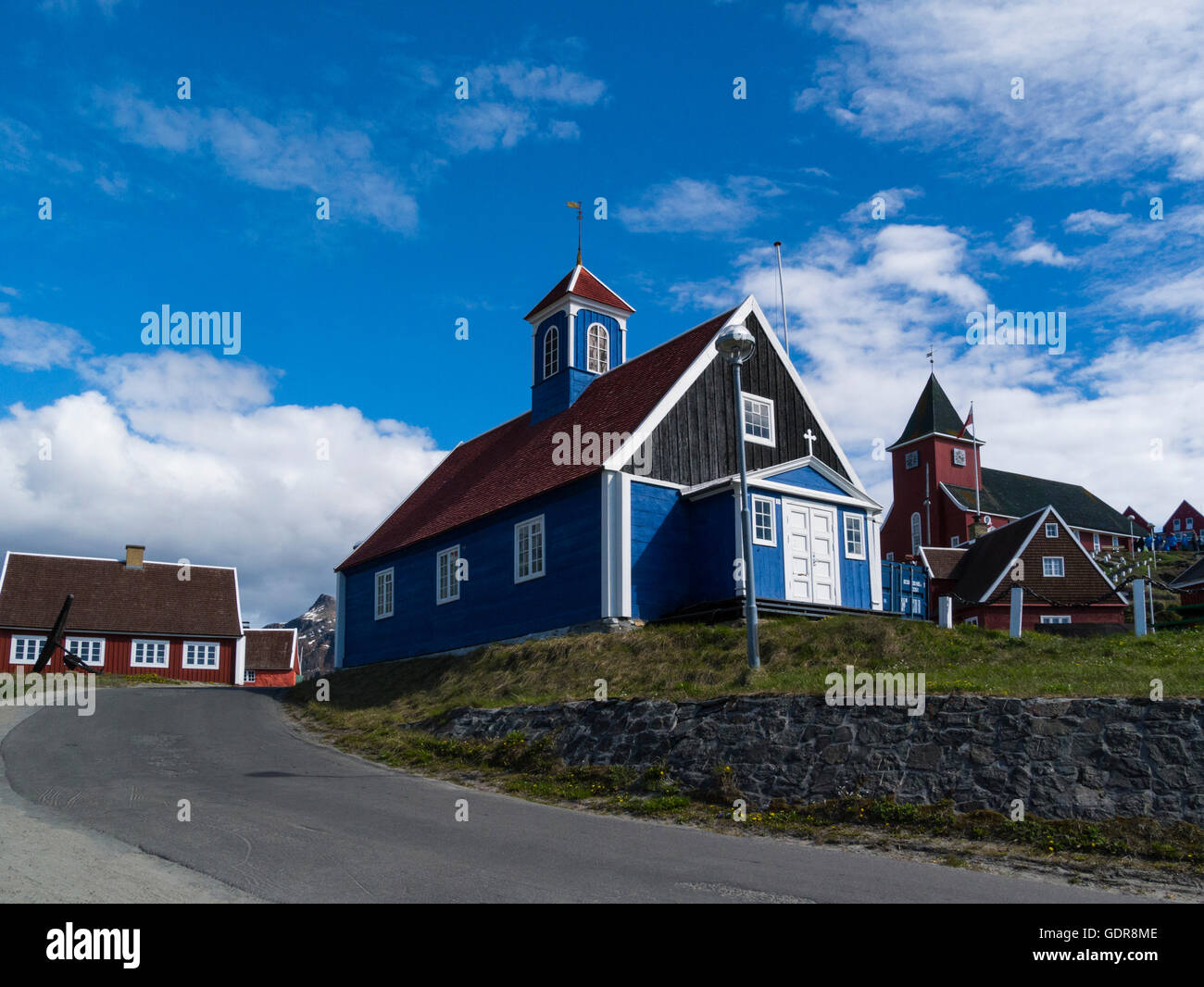 Old Bethel and new church Sisimiut West Greenland - Stock Image