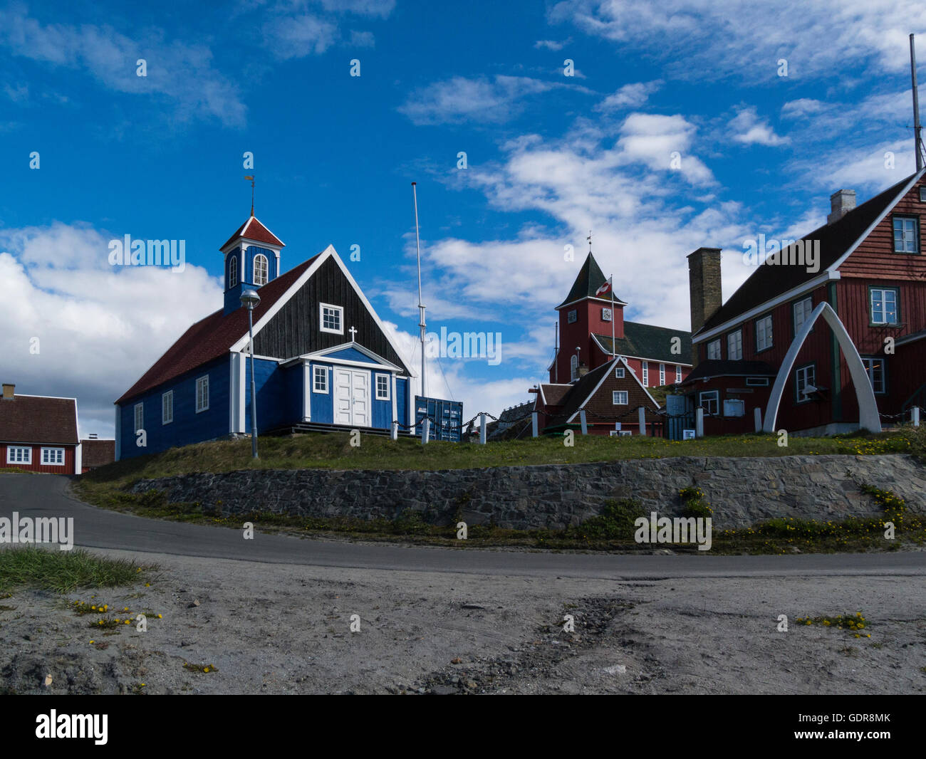 Old Bethel Church 1775 and new church 1926 and Colonial Manager's House 1846 Sisimiut West Greenland second - Stock Image