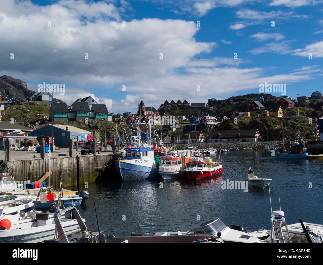 View of Sisimiut city from fishing harbour West Greenland capital and largest city of Qeqqata municipality on lovely Stock Photo