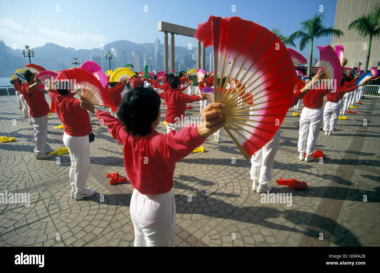 Traditional Women at the Chinese newyear in Hong Kong in the south of China in Asia. Stock Photo