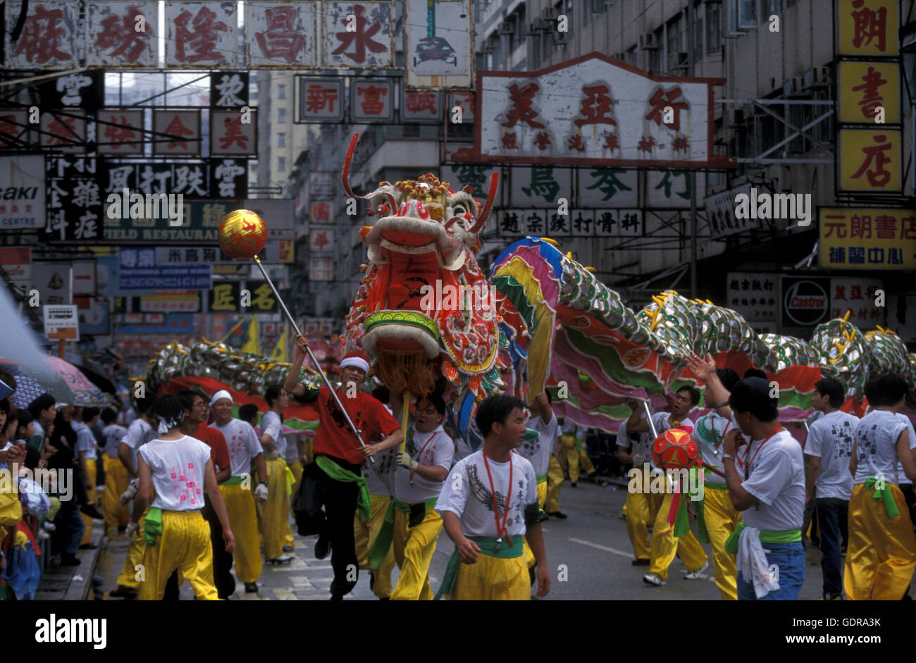 the Dragon festival at the Chinese newyear in Hong Kong in the south of China in Asia. - Stock Image
