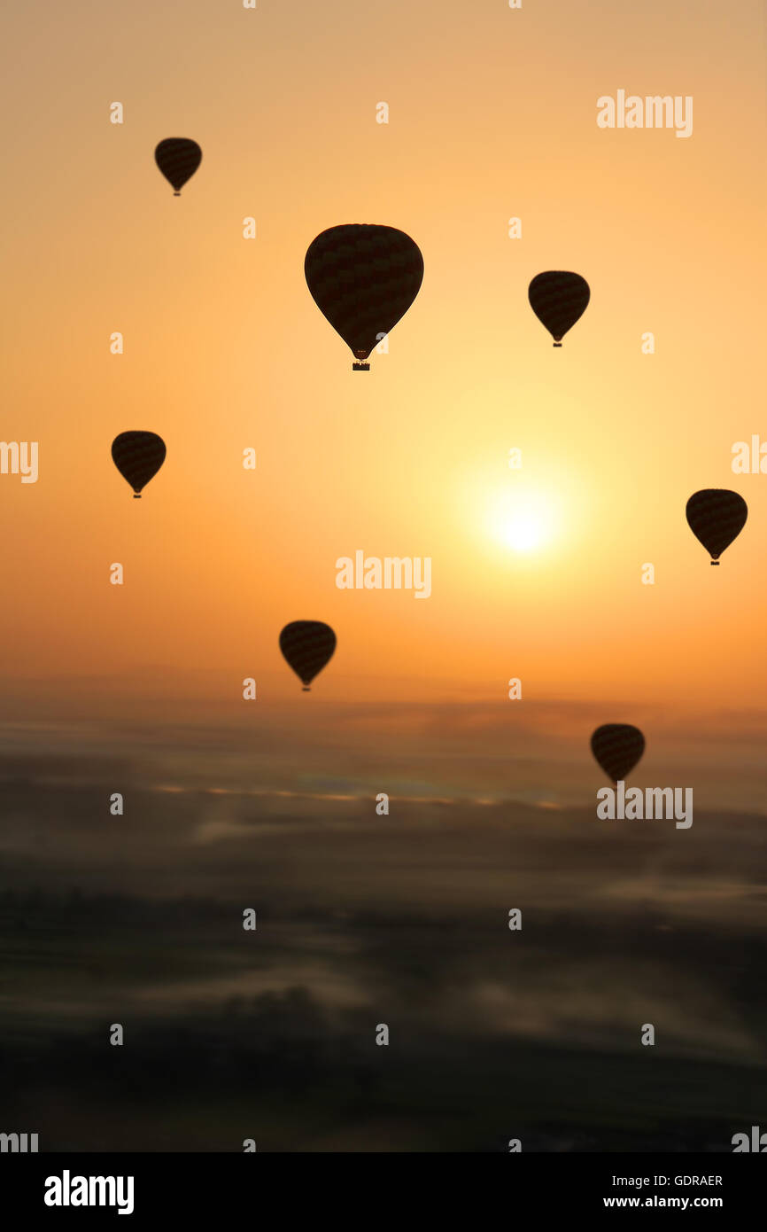 Multiple Hot air balloons silhouetted in the  early morning sun during  flight, with foggy patches in the Valley - Stock Image