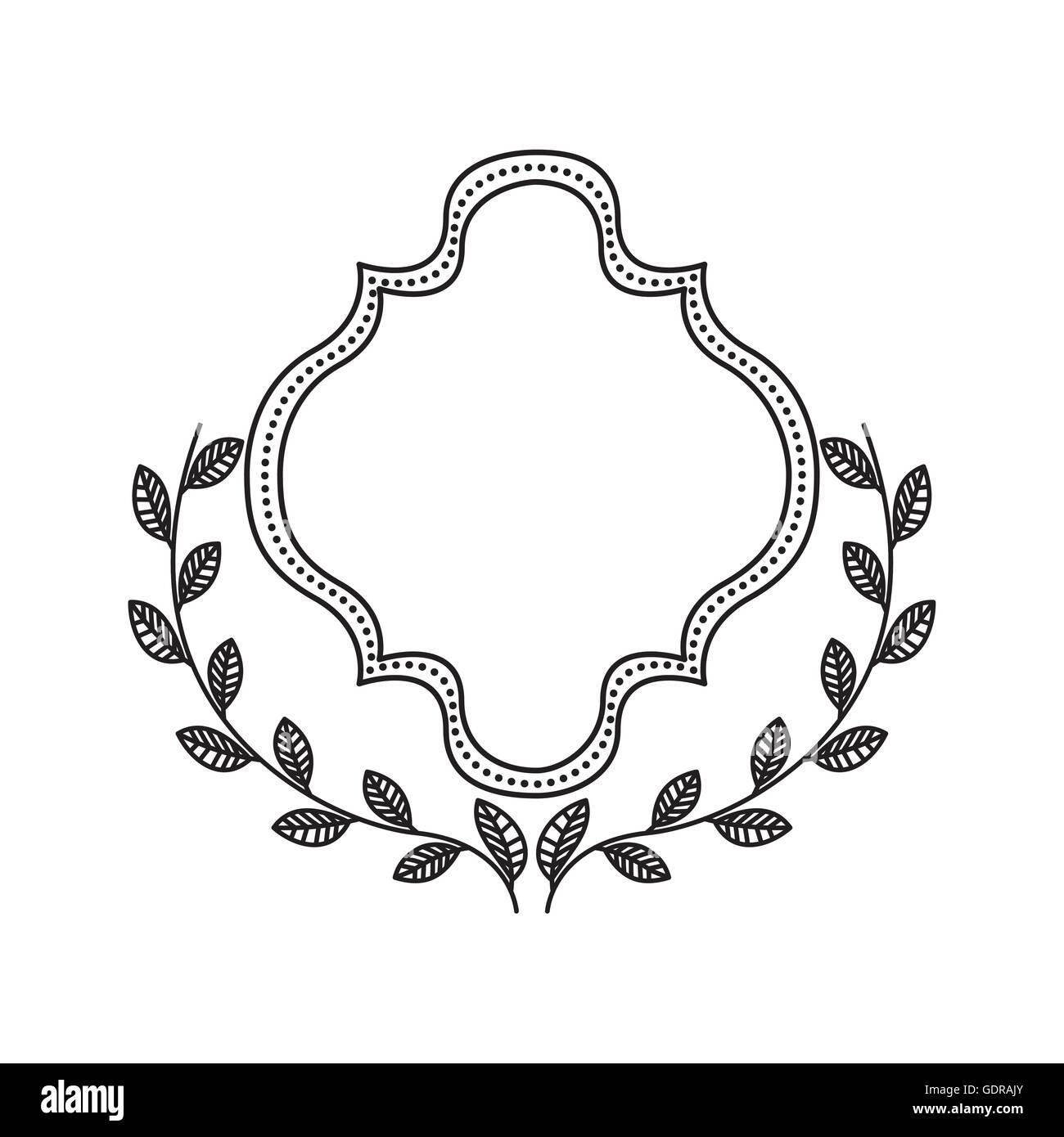 Frame with wreath icon. Hand draw label design. Vector graphic Stock ...