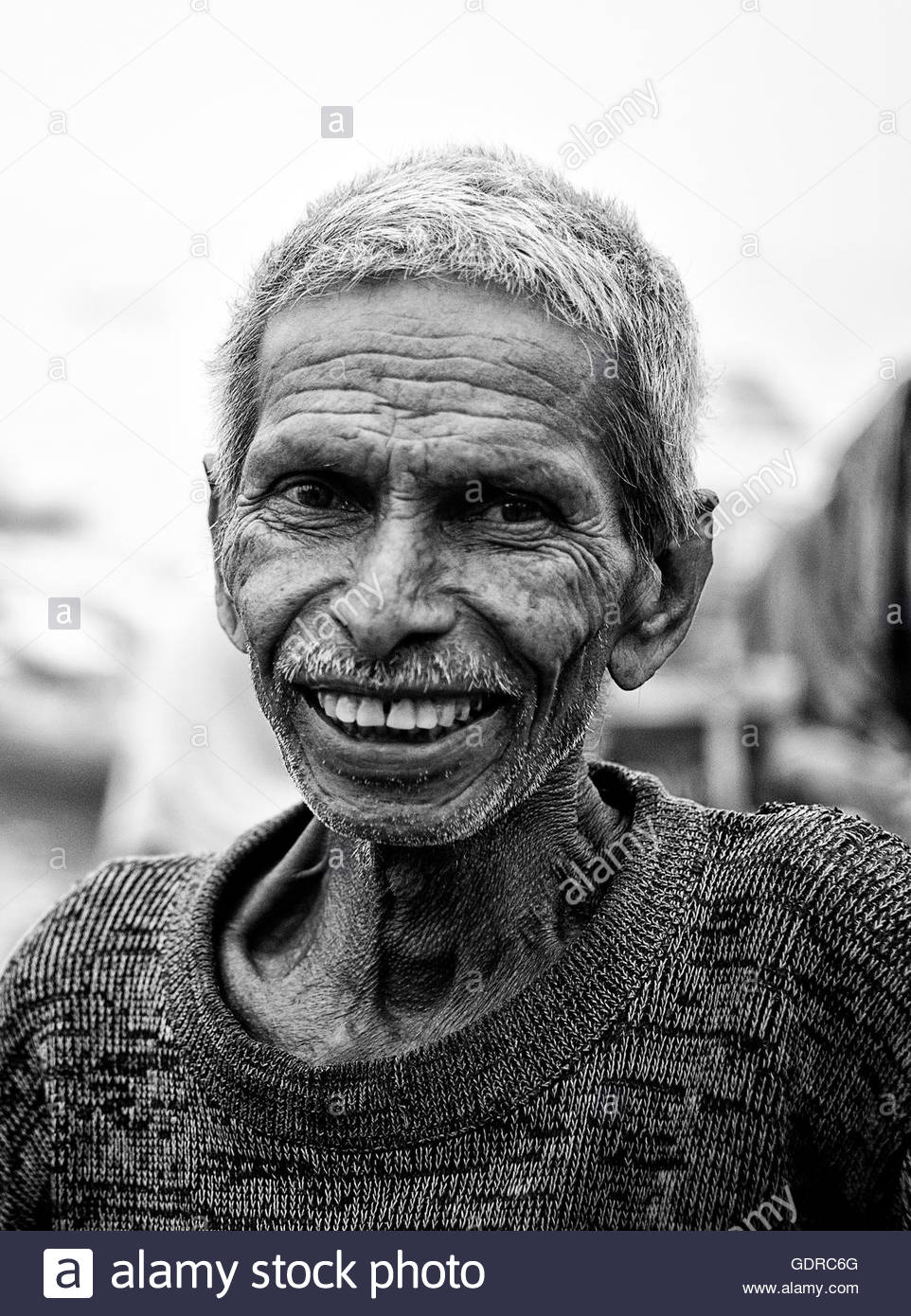 A beautiful smile of an Indian aged man - Stock Image