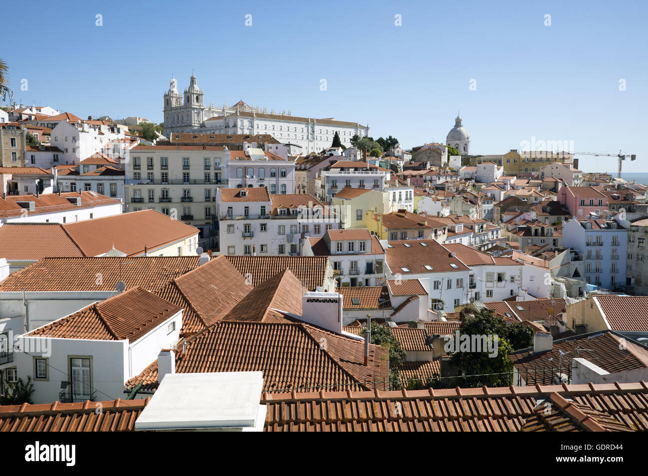 Tiled roofs of Lisbon Portugal - Stock Image