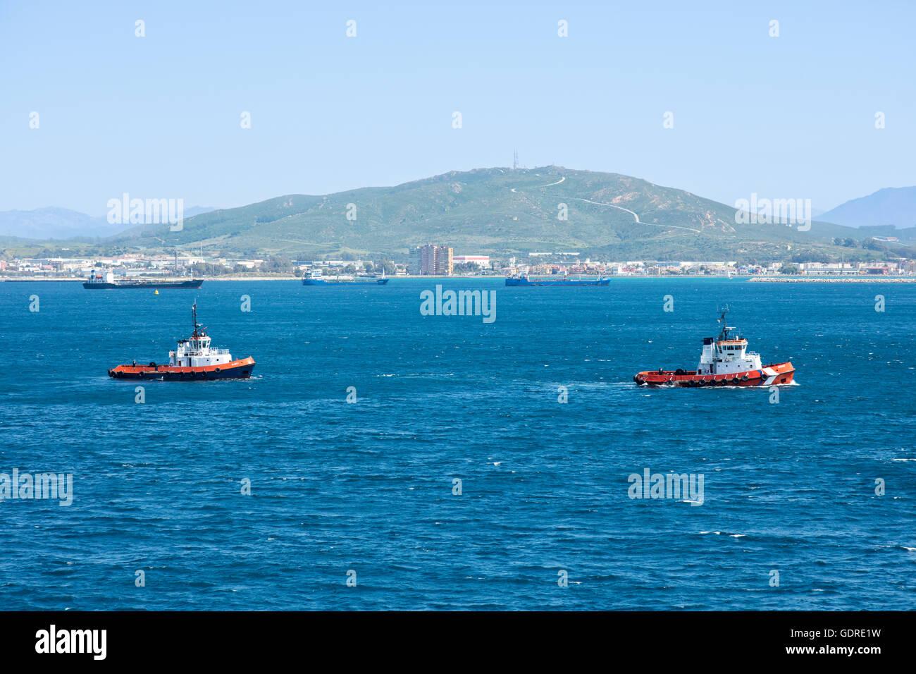 Gibraltar tugs Eliott and Rooke - Stock Image