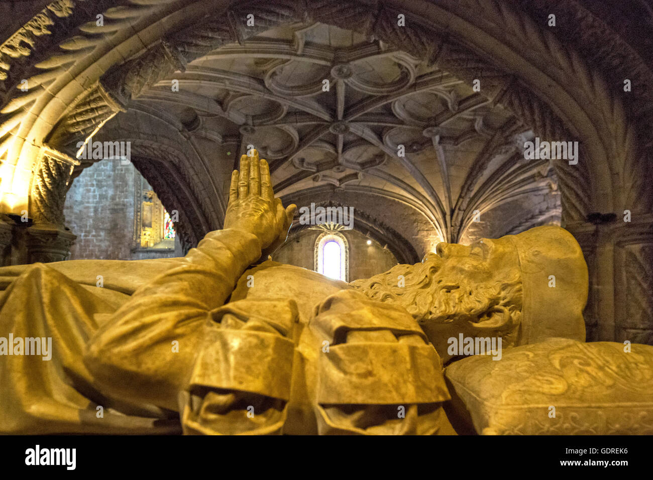 Tomb of the discoverer Vasco da Gama, Jerónimos Monastery, UNESCO World Heritage Site, Lisbon, District of - Stock Image