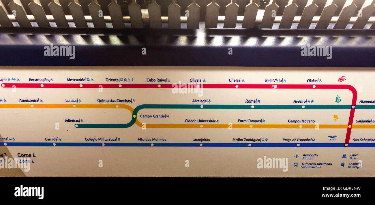 Subway Map Of Lisbon.Metro Map Of Lisbon Metro Stock Photos Metro Map Of Lisbon Metro
