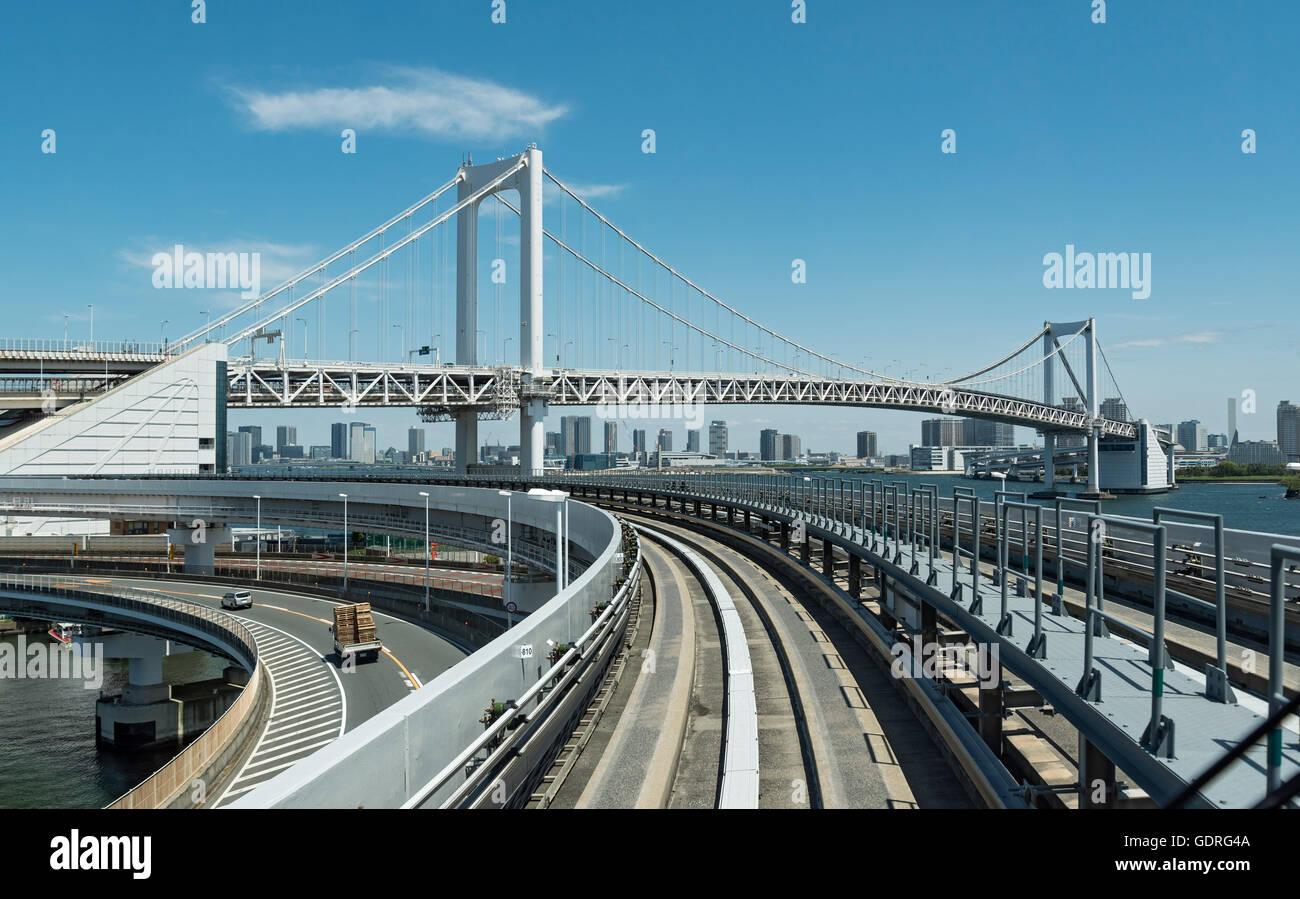 Rail tracks on Rainbow Bridge, Tokyo, Japan - Stock Image