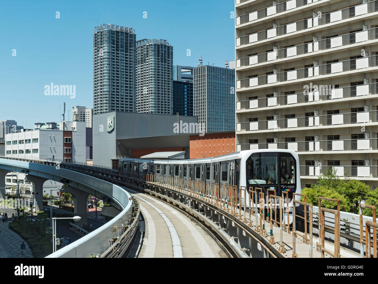 Yurikamome automated train in Daiba, Odaiba, Tokyo, Japan - Stock Image