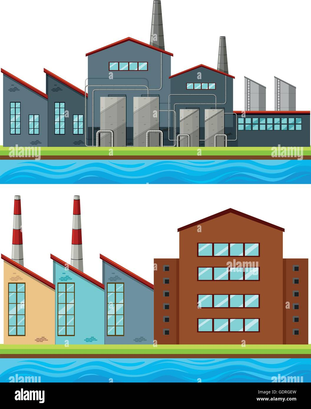 Factory buildings with tall chimneys illustration - Stock Vector