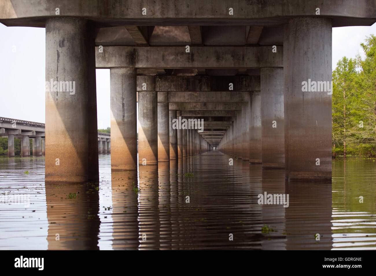 Atchafalaya swamp freeway, an 18.2 mile bridge crossing the wetland on Interstate 10 (I-10) highway - Stock Image