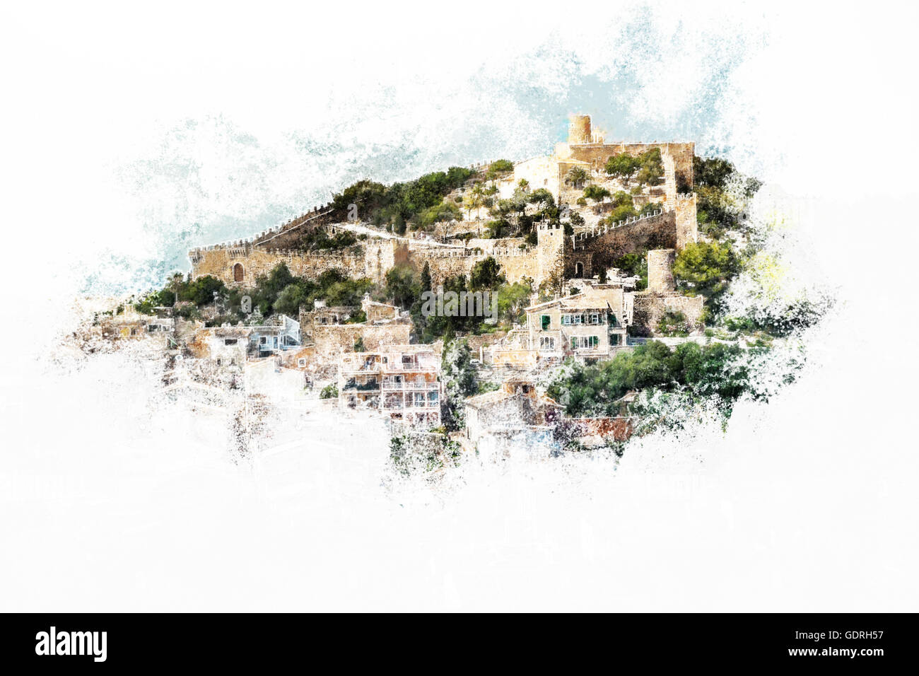Capdepera castle on green hill in Mallorca - Stock Image