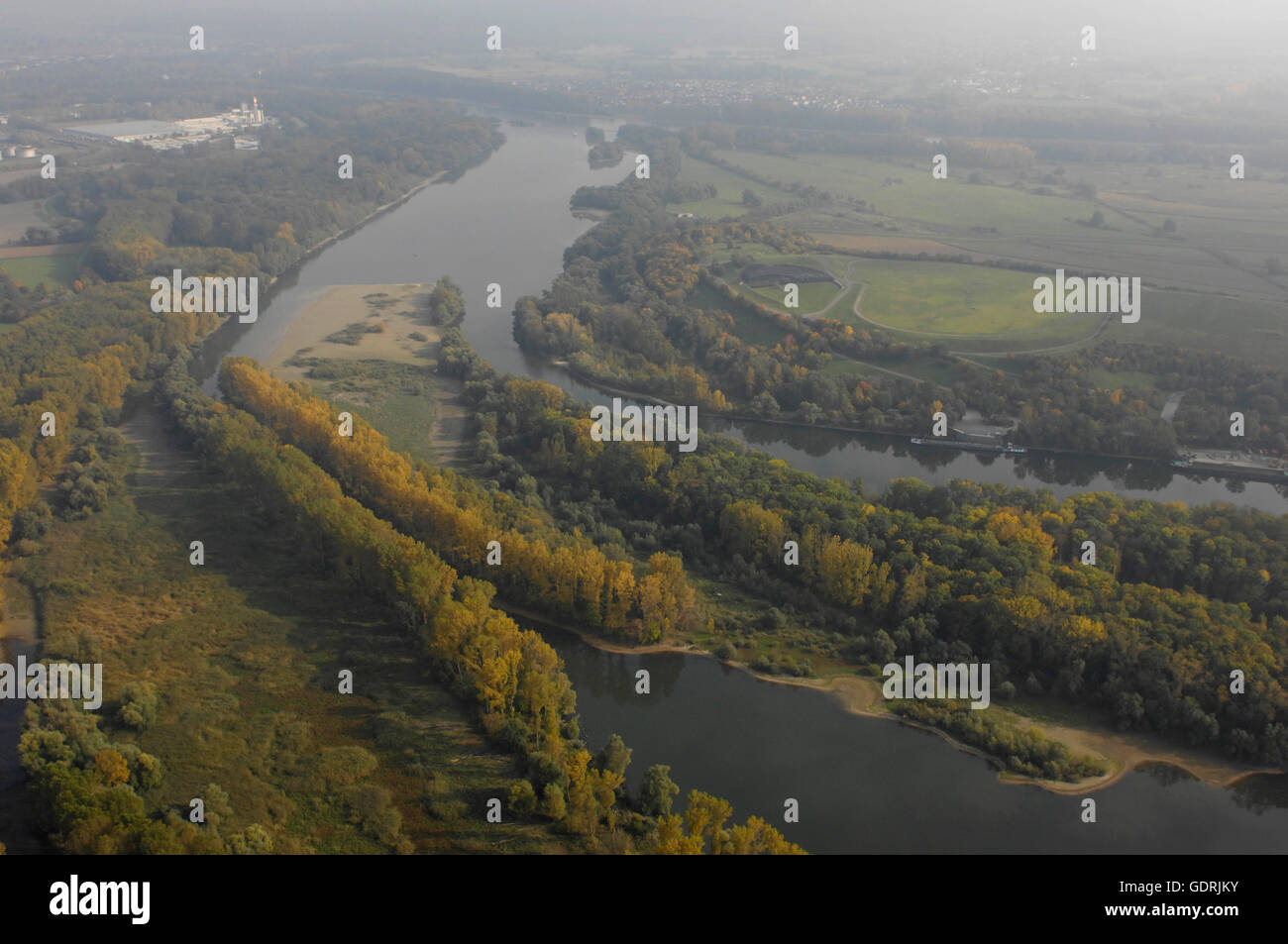 geography / travel, Germany, Rhineland-Palatinate, Old Rhine, river meadow, aerial view near Speyer, , Additional Stock Photo