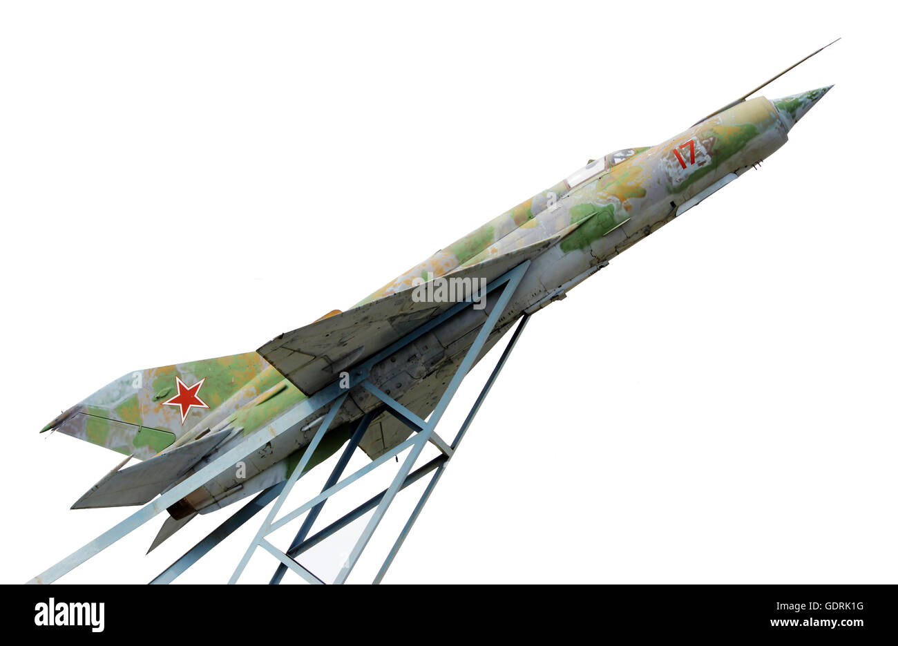 Gatchina, RUSSIA. The supersonic Plane established in honor of pilot Efimov in an area where used to be 's first - Stock Image