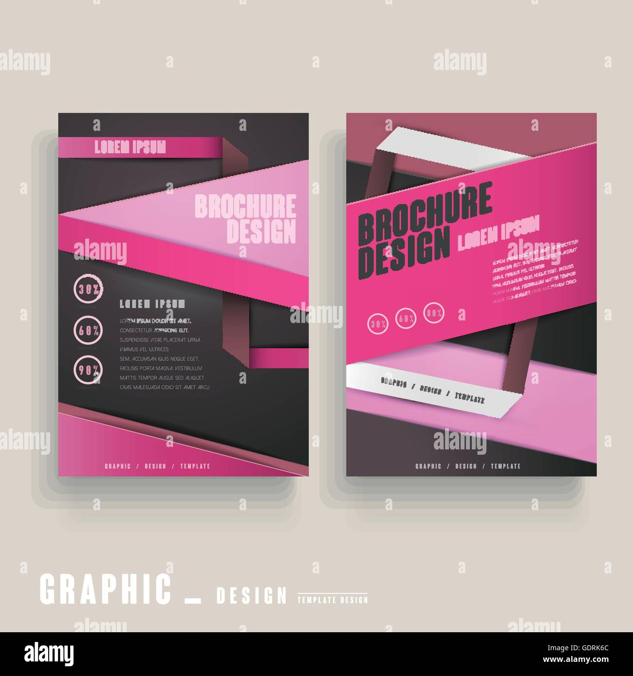 contemporary brochure template design in pink and black