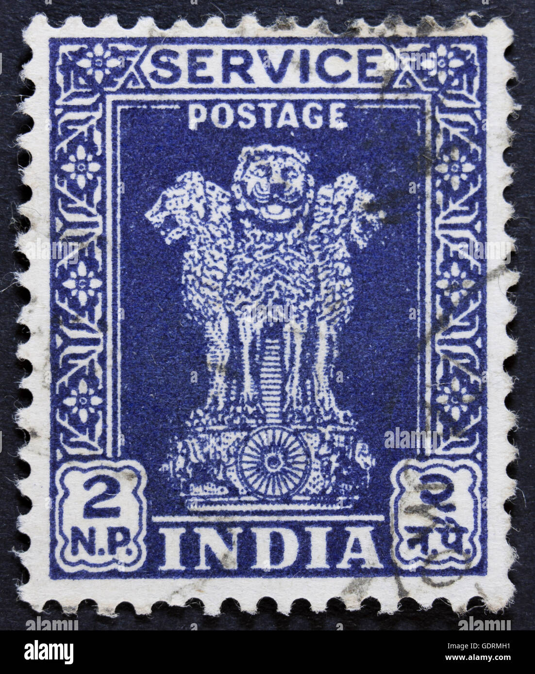 INDIA - CIRCA 1967: A stamp printed in India shows four Indian lions capital of Ashoka Pillar, without inscription, - Stock Image