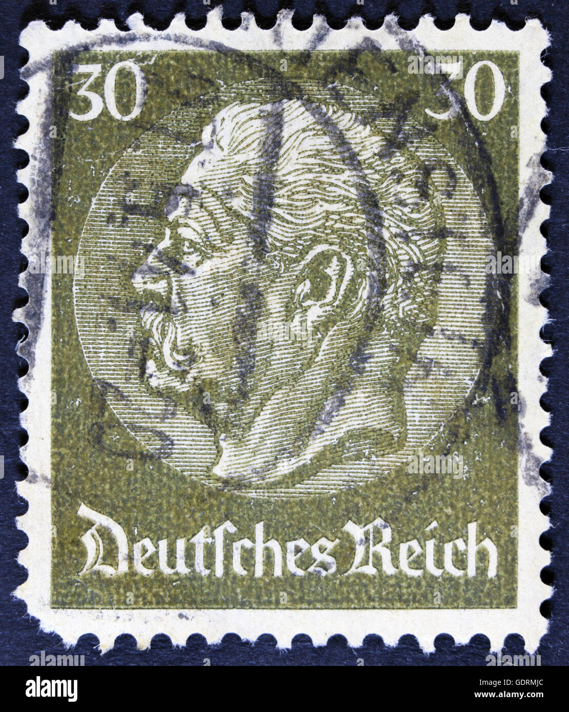Old Used German Stamp From 30th December 1934 Year With Bismarck And Berlin Deutsche Reich Subtitle On White Separate